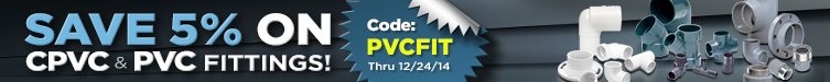 5% off CPVC and PVC Fittings