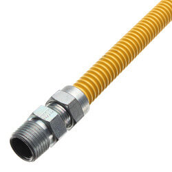 "3/8"" ID Coated Stainless Steel Gas Connector <br>1/2"" MIP x FIP (48"" Length) Product Image"