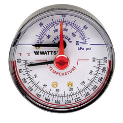 "DPTG-3L 2-1/2"" Pressure & Temperature Gauge (0-75 psi)"