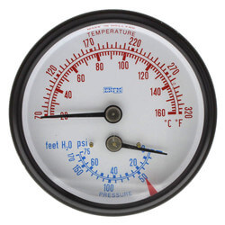 "2-1/2"" Water Temperature/Pressure Gauge For Burnham Boilers Product Image"