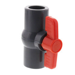 """1/2"""" Gray PVC Ball Valve w/ T-Handle (Solvent Ends) Product Image"""