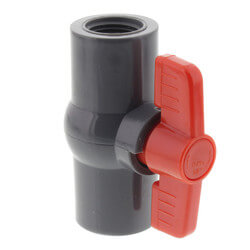 "1/2"" Gray PVC Ball Valve w/ T-Handle (Threaded) Product Image"