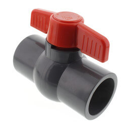 """1-1/4"""" Gray PVC Ball Valve w/ T-Handle (Solvent Ends) Product Image"""