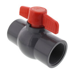 "1-1/2"" Gray PVC Ball Valve w/ T-Handle (Solvent Ends) Product Image"