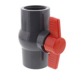 "1-1/2"" Gray PVC Ball Valve w/ T-Handle (Threaded) Product Image"