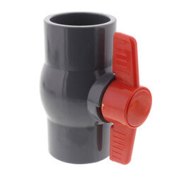 "2"" Gray PVC Ball Valve w/ T-Handle (Solvent Ends) Product Image"