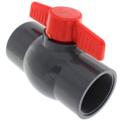 "2"" Gray PVC Ball Valve w/ T-Handle (Threaded) Product Image"