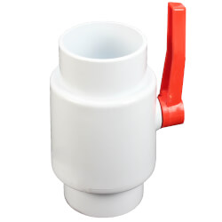 "6"" White PVC Ball Valve w/ Easy Twist Leverage Handle (Solvent Ends) Product Image"