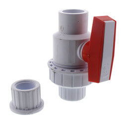 "3/4"" White PVC Single Union Ball Valve (Solvent Ends) Product Image"