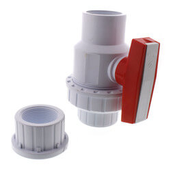 "1-1/2"" White PVC Single Union Ball Valve (Solvent Ends) Product Image"