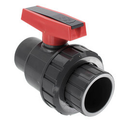 "2"" Gray PVC Single Union Ball Valve (Solvent Ends) Product Image"