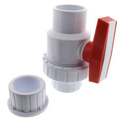 "2"" White PVC Single Union Ball Valve (Solvent Ends) Product Image"