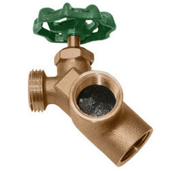 "3/4"" FIP x FIP x Hose Brass Water Heater Drain Valve w/ Recirculating Elbow"