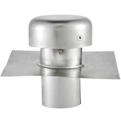 """4"""" Galvanized Roof Cap w/ Flange (No Screen & Damper) Product Image"""