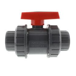 "1-1/2"" Gray PVC True Union Ball Valve Product Image"