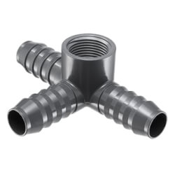 "3/4"" x 3/4"" PVC Barbed Insert Side Outlet Tee (Insert x FIPT) Product Image"