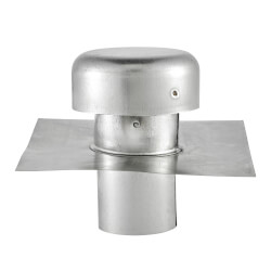 """5"""" Galvanized Roof Cap w/ Flange (No Screen & Damper) Product Image"""