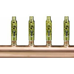 "1-1/2"" Copper Manifold w/ 5/8"" PEX Press Balancing / Shutoff Valves, 12 Outlets Product Image"