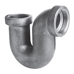"2"" Black Cast Iron Drainage P-Trap w/o Cleanout Product Image"