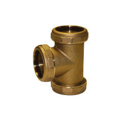 "1-1/2"" (Less Nut and Washer) 3-Way Tee (Rough Brass) Product Image"