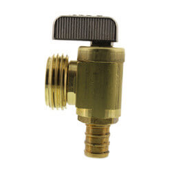 "1/2"" Pex Crimp x Hose, Angle Hose & Boiler Drain Valve (Rough Brass) Product Image"