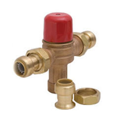 "HG-115D, 3/4"" SharkBite Heatguard Thermostatic Mixing Valve w/ Union Nut, Check Valve & SharkBite Tail Pc"