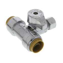 "1/2"" SB x 1/2"" SB x 3/8"" Compression Tee Stop (Lead Free) Product Image"