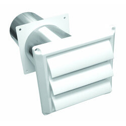 "4"" White Plastic Louvered Replacement Wall Vent<br>w/ Tail Pipe Product Image"