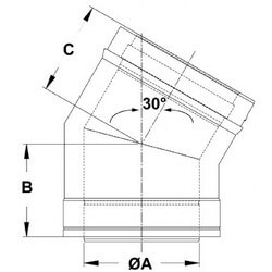 "6"" x 30° Z-Vent<br>Double Wall Elbow Product Image"