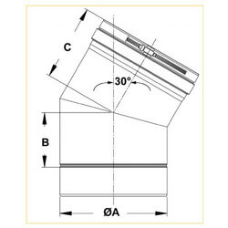 "8"" x 30° Z-Vent<br>Single Wall Elbow Product Image"