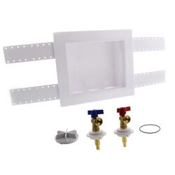 "QUADTRO Washing Machine Outlet Box w/ 1/4"" Turn Valves (PEX Crimp) Product Image"