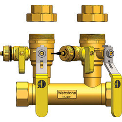 "1-1/4"" FIP x 1"" Hydro-Core Ball Drain Valve Kit w/ 1"" IPS Unions Product Image"