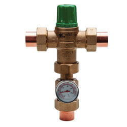 """1"""" Sweat Union 5004 Heating Only Mixing Valve w/ Gauge Product Image"""