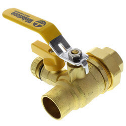 "1"" Full Port Forged Brass Ball Valve w/ Single Union End, Hi Flow Hose Drain & Reversible Handle"