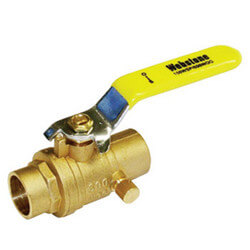 "1/2"" Sweat Full Port Forged Brass Ball Valve w/ Bleeder (Lead Free)"