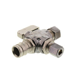 "1/2"" Expansion PEX x 3/8"" x 1/4"" OD Comp Straight Dual Outlet Valve, Lead Free (Chrome) Product Image"