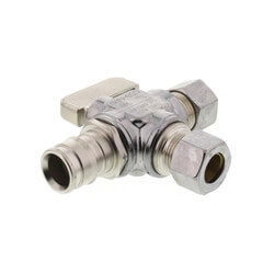 "1/2"" Expansion PEX x 3/8"" x 3/8"" OD Comp Straight Dual Outlet Valve (Chrome) Product Image"