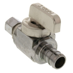 "1/2"" PEX Crimp x 1/4 OD Comp Straight Stop Valve, LF (Chrome Plated) Product Image"