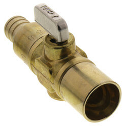 "3/4"" Fem. Solder x PEX Straight In-Line Ball Valve w/ Drain, LF (Rough Brass) Product Image"