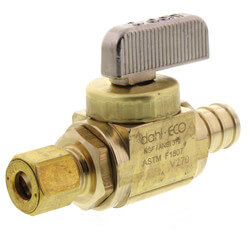 "1/2"" PEX Crimp x 1/4 OD Comp Straight Stop Valve, LF (Rough Brass) Product Image"