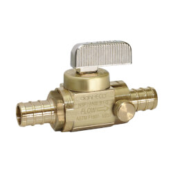 "1/2"" PEX Straight In-Line Ball Valve w/ Drain, Lead Free (Rough Brass) Product Image"