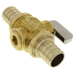 "3/4"" PEX Straight In-Line Ball Valve, Lead Free (Rough Brass) Product Image"