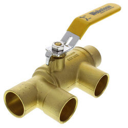 "1"" x 1"" Pro-Pal Full Port Brass Ball Valve w/ Reversible Handle, Primary/Secondary Loop Purge Tee"
