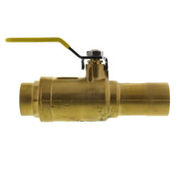 "1-1/4"" x 3/4"" Pro-Pal Full Port Brass Ball Valve w/ Reversible Handle, Primary/Secondary Loop Purge Tee"