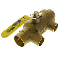 "1-1/2"" x 1"" Pro-Pal Full Port Brass Ball Valve w/ Reversible Handle, Primary/Secondary Loop Purge Tee"