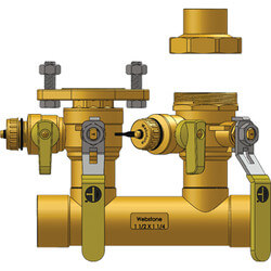 "1-1/2"" Sweat Run x 1-1/4"" Hydro-Core Left Flange Manifold 1-1/4"" SWT Union Product Image"