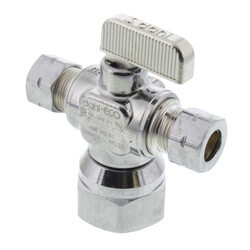 "1/2"" FIP x  3/8"" x 3/8"" Dual Outlet Valve, Lead Free (Chrome Plated) Product Image"