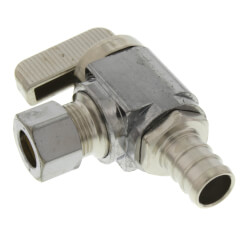 "1/2"" Pex Crimp x 3/8"" OD Comp. Angle Stop Valve, Lead Free (Chrome) Product Image"