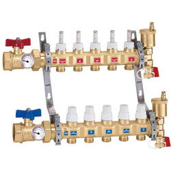 "1"" TwistFlow Manifold w/ Temp Gauge (13 Outlets) Product Image"