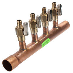 "1"" Copper Manifold <br>w/ 1/2"" Crimp Ball Valves<br>4 Outlets (LF) Product Image"